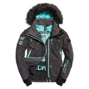 בגדי חורף סופרדרי לנשים Superdry Ultimate Snow Service Jacket - שחור/תכלת