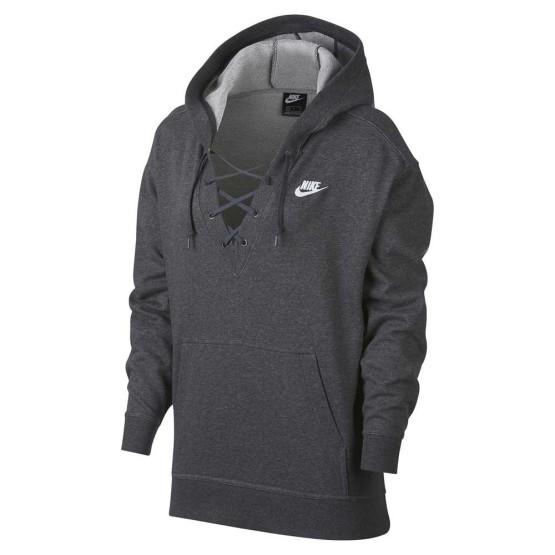 ביגוד נייק לנשים Nike Sportswear Club Laceup Hooded - אפור