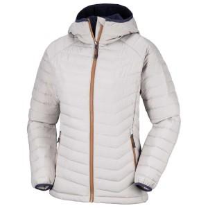 בגדי חורף קולומביה לנשים Columbia Powder Lite Hooded - אפור בהיר