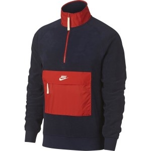 בגדי חורף נייק לגברים Nike Sportswear Core Winter SNL Half Zip - כחול/אדום