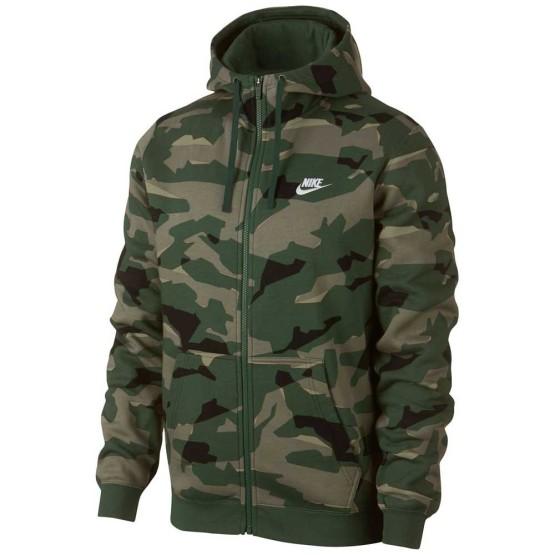 בגדי חורף נייק לגברים Nike Sportswear Club Camo BB Full Zip Hoody - ירוק