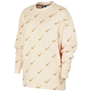 ביגוד נייק לנשים Nike Sportswear Rally Crew Aop Metallic - זהב