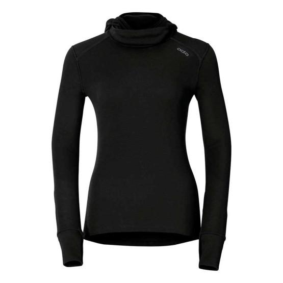 בגדי חורף אודלו לנשים Odlo Shirt L/S Crew Neck With Facemask Warm - שחור