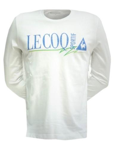 ביגוד לה קוק ספורטיף לגברים Le Coq Sportif Faguy Tee LS - לבן