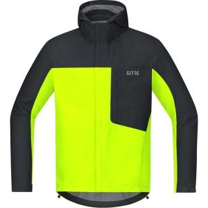 ביגוד גרואי לגברים GORE  C3 tex Paclite Hooded Jacket - צהוב