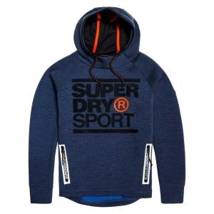 ביגוד סופרדרי לגברים Superdry Gym Tech Stretch Graphic Overhead - כחול