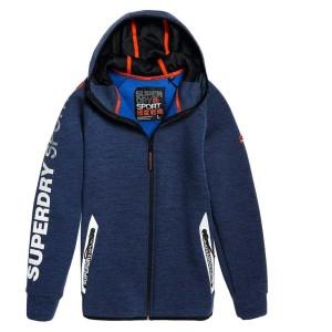 בגדי חורף סופרדרי לגברים Superdry Gym Tech Stretch Zip Hoodie - כחול