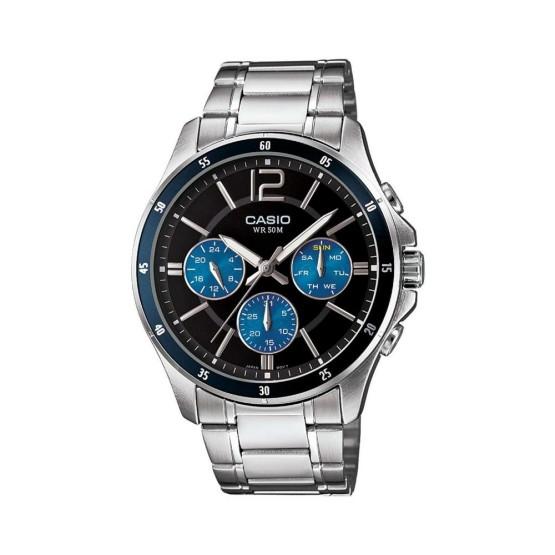 שעון קסיו לגברים CASIO MTP_1374D - שחור/כחול
