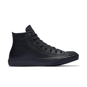 נעלי סניקרס קונברס לגברים Converse CHUCK TAYLOR ALL STAR LEATHER High Top - שחור מלא