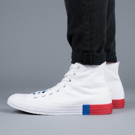 נעליים קונברס לגברים Converse Chuck Taylor All Star Colorblock OX High Top  - לבן אדום 7ce46dba298