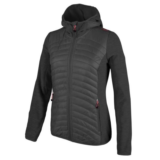 בגדי חורף סמפ לנשים CMP  Fix Hood Hybrid Jacket - שחור