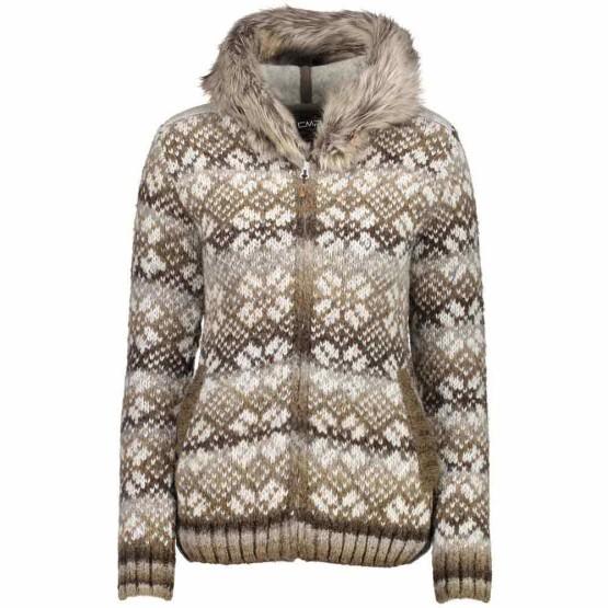 בגדי חורף סמפ לנשים CMP  Knitted Pullover Fix Hood - חום
