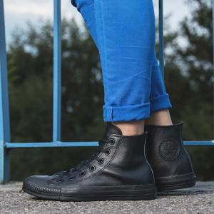 נעליים קונברס לנשים Converse CHUCK TAYLOR ALL STAR LEATHER High Top - שחור מלא
