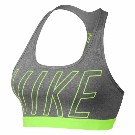 ביגוד נייק לנשים Nike  Pro Classic Logo Read Bra - אפור