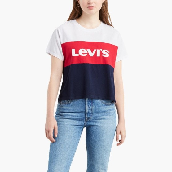 ביגוד ליוויס לנשים Levi's Graphic Varsity - כחול/לבן