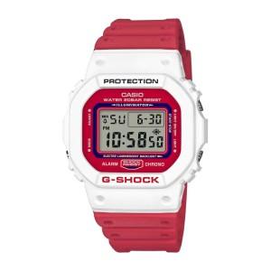 שעון קסיו ג'י-שוק לגברים CASIO G-SHOCK DW5600TB4A - לבן/אדום