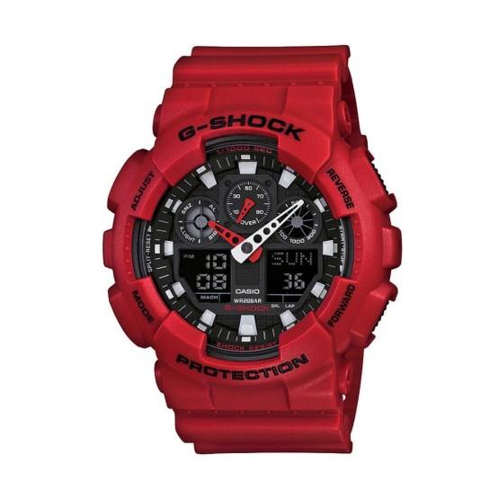 שעון קסיו ג'י-שוק לגברים CASIO G-SHOCK GA100B - אדום