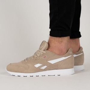 נעליים ריבוק לגברים Reebok   Leather MU - חום/לבן