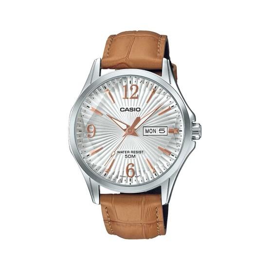 שעון קסיו לגברים CASIO MTPE120L - חום