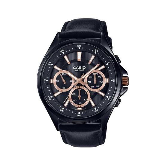 שעון קסיו לגברים CASIO MTPE303BL - שחור/ורוד