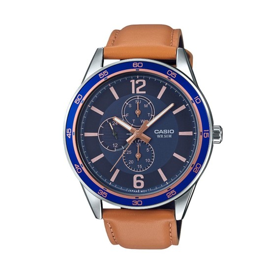 שעון קסיו לגברים CASIO MTPE319L - חוםכחול