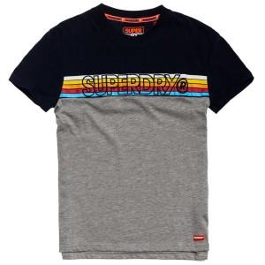 ביגוד סופרדרי לגברים Superdry Cali Stripe Embroidery - שחור/אפור