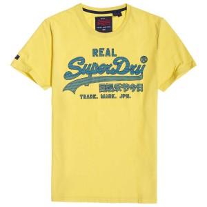 ביגוד סופרדרי לגברים Superdry Vintage Logo Fade Mid Weight - צהוב