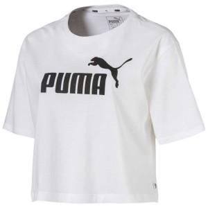 ביגוד פומה לנשים PUMA ESS+ Crop Logo - לבן