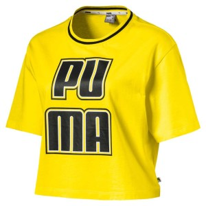 ביגוד פומה לנשים PUMA Rebel Reload Crop - צהוב