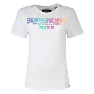 ביגוד סופרדרי לנשים Superdry City Nights Ombre Puff - לבן