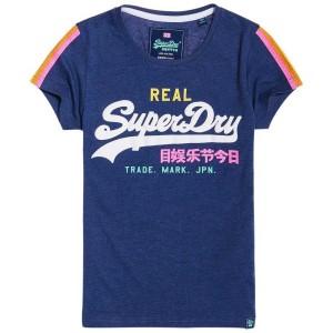 ביגוד סופרדרי לנשים Superdry V Logo Sleeve Stripe - כחול