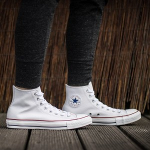 נעלי סניקרס קונברס לגברים Converse Chuck Taylor All Star Leather - לבן