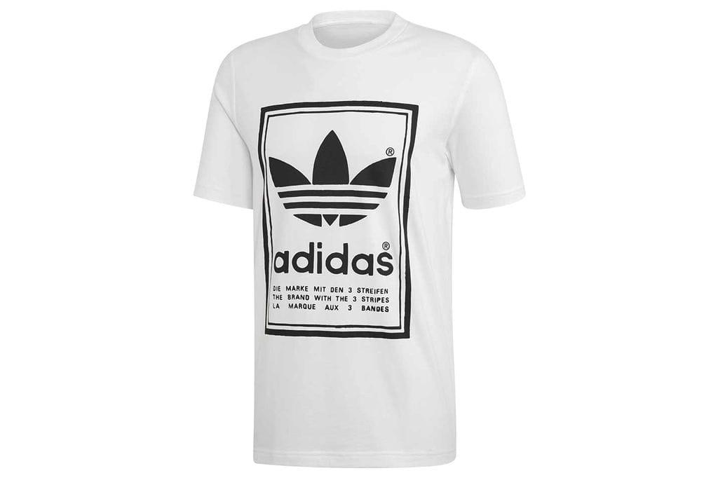 ביגוד אדידס לגברים Adidas VINTAGE TEE - לבן הדפס