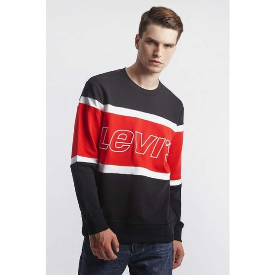 ביגוד ליוויס לגברים Levi's PIECED CREWNECK SWEATSHIRT - שחור/אדום