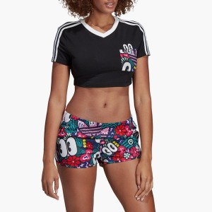 ביגוד אדידס לנשים Adidas Originals 3-Stripes Cropped Tee - שחור