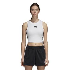 ביגוד Adidas Originals לנשים Adidas Originals  Crop Tank - לבן
