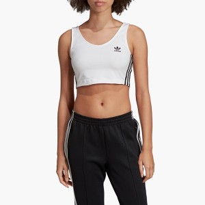 ביגוד Adidas Originals לנשים Adidas Originals Cropped Tank Bra - לבן