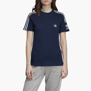 ביגוד Adidas Originals לנשים Adidas Originals   3-Stripes Lock Up Tee - כחול כהה
