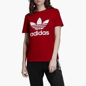 ביגוד Adidas Originals לנשים Adidas Originals Originals Trefoil Tee - אדום יין