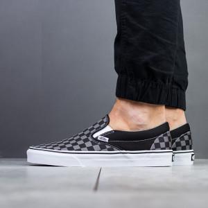 נעליים ואנס לגברים Vans Classic Slip On - שחור/אפור