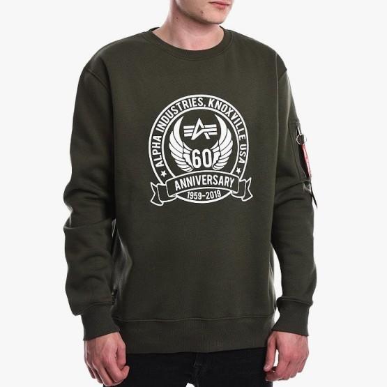 ביגוד אלפא אינדסטריז לגברים Alpha Industries Anniversary Sweater - ירוק