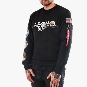 ביגוד אלפא אינדסטריז לגברים Alpha Industries Apollo Moon Landing 50 Patch Sweater - שחור