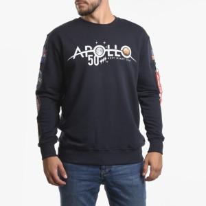 ביגוד אלפא אינדסטריז לגברים Alpha Industries Apollo Moon Landing 50 Patch Sweater - כחול כהה