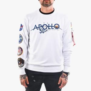 ביגוד אלפא אינדסטריז לגברים Alpha Industries Apollo Moon Landing 50 Patch Sweater - לבן