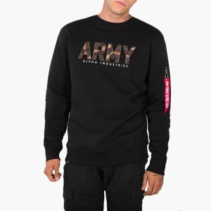 בגדי חורף אלפא אינדסטריז לגברים Alpha Industries Army Camo Sweater - שחור