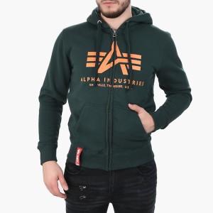 ביגוד אלפא אינדסטריז לגברים Alpha Industries Basic Zip Hoody - ירוק כהה