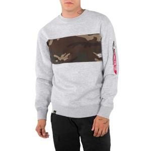 ביגוד אלפא אינדסטריז לגברים Alpha Industries Como Bar Sweater - אפור