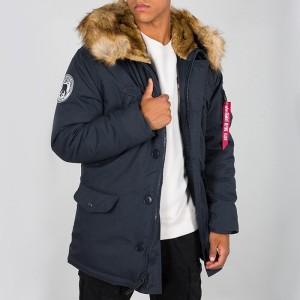 ביגוד אלפא אינדסטריז לגברים Alpha Industries Polar Jacket - כחול כהה