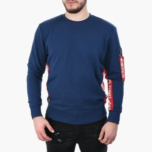 ביגוד אלפא אינדסטריז לגברים Alpha Industries RFB Inlay Sweater - כחול