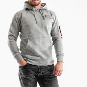 בגדי חורף אלפא אינדסטריז לגברים Alpha Industries Red Stripe - אפור